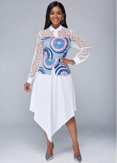 Wedding Guest Dress Tribal Print Lace Panel Asymmetric Hem Dress - M