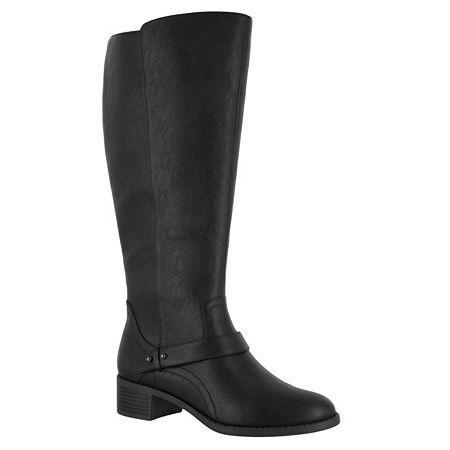 Easy Street Womens Jewel Plus Block Heel Zip Riding Boots, 8 1/2 Medium, Black