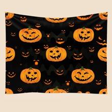 Tapiz con estampado de calabaza de Halloween