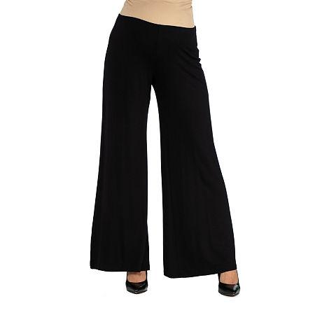 24/7 Comfort Apparel Comfortable Solid Color Palazzo Pant, Medium , Black