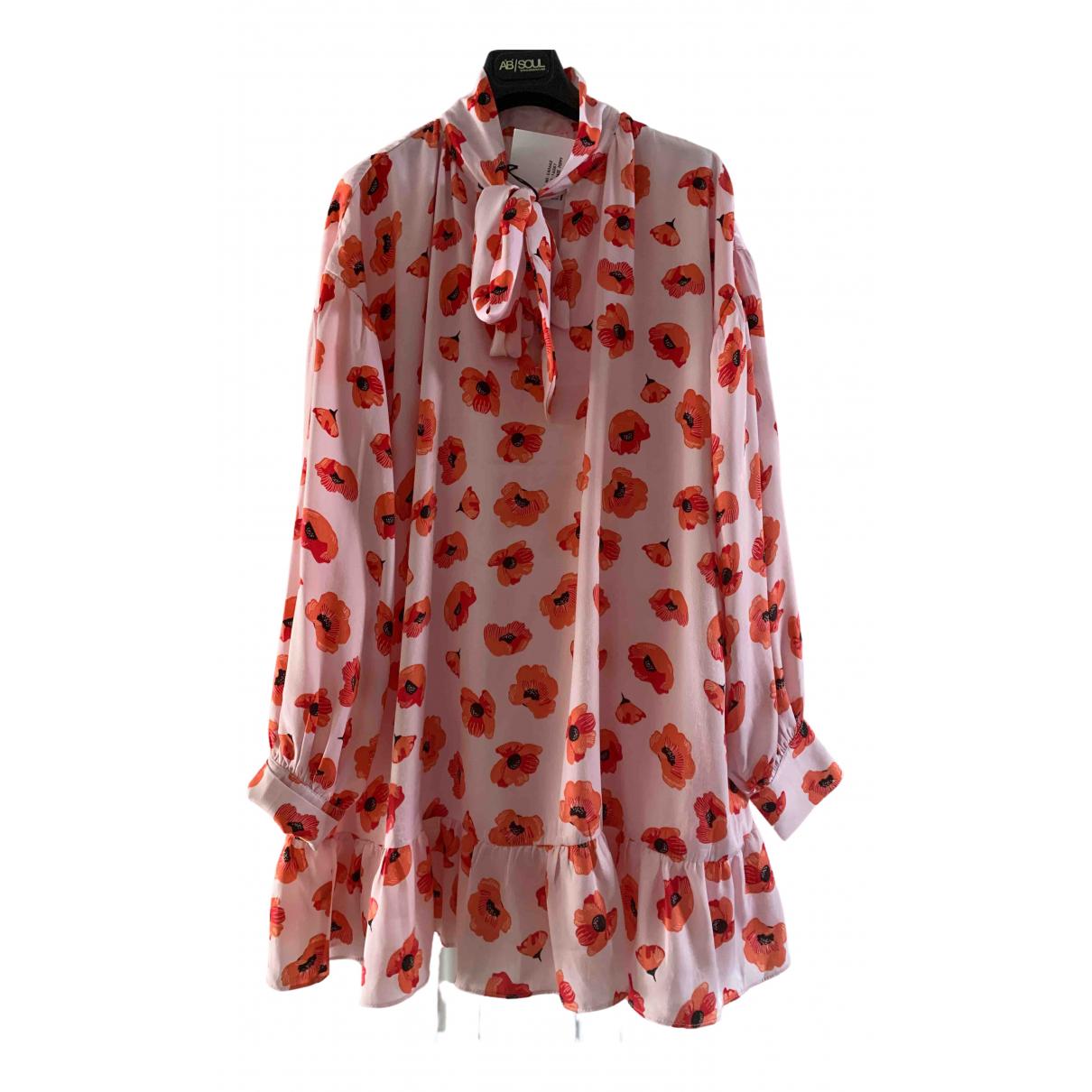 Non Signe / Unsigned Manche ballon Kleid in  Rosa Polyester