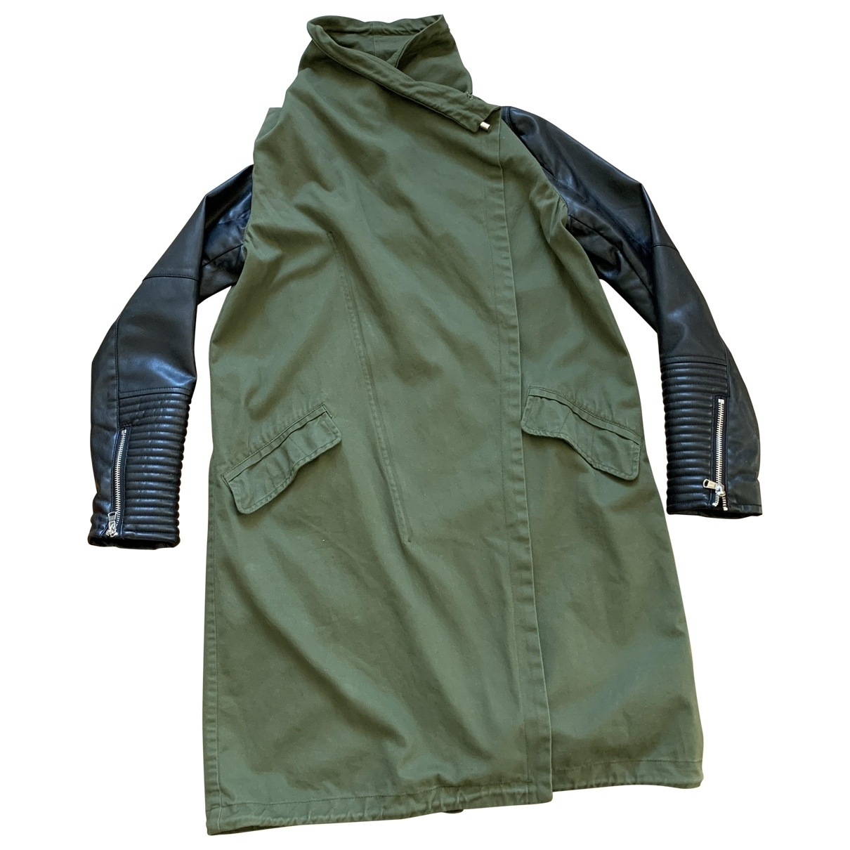 Zara \N Khaki Cotton coat for Women 38 IT