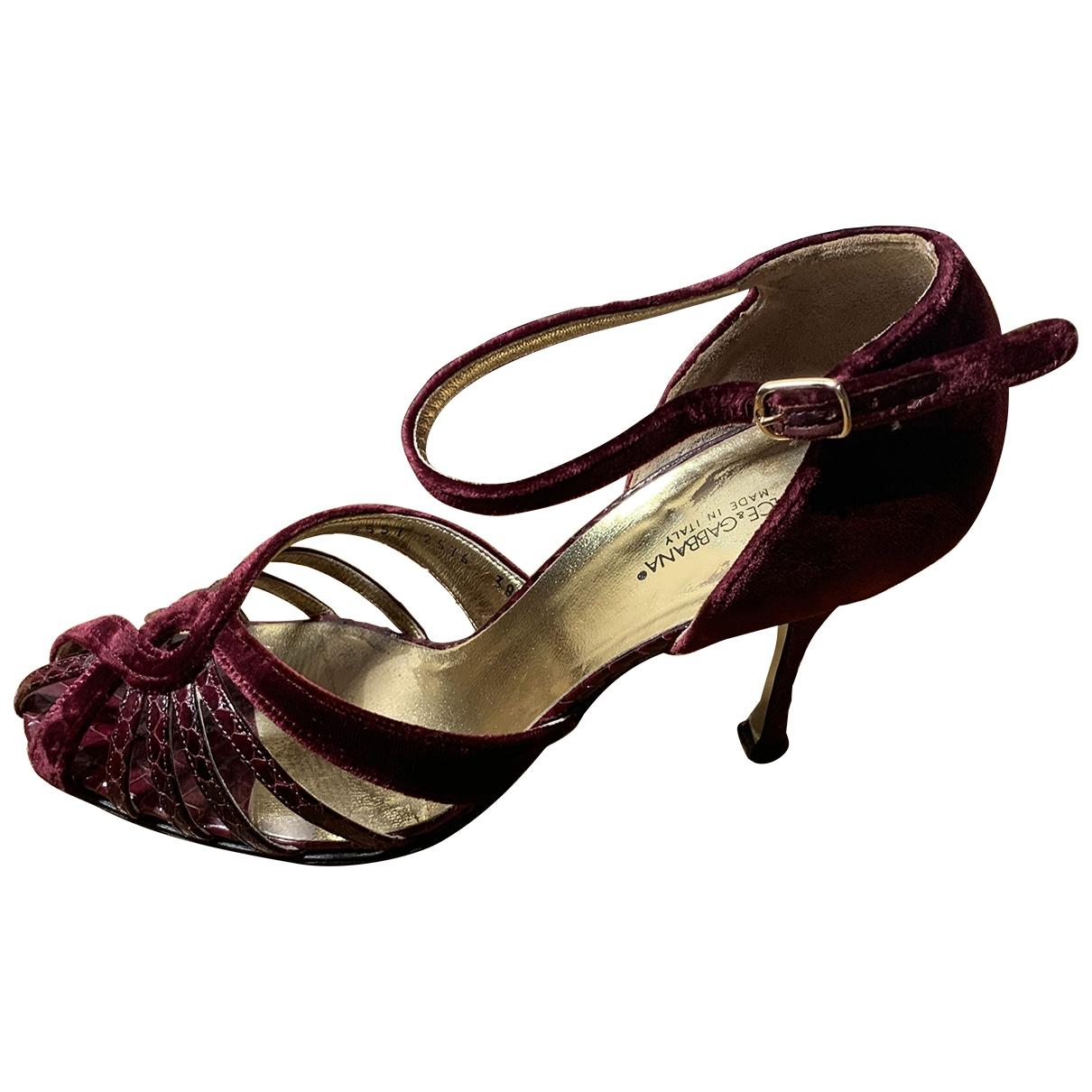 Dolce & Gabbana \N Burgundy Velvet Heels for Women 38 EU