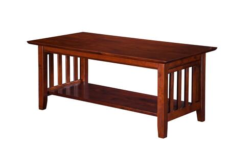 AH15204 Mission Coffee Table With Apron  Molding Detail  Tapered Legs And Bottom Shelf In