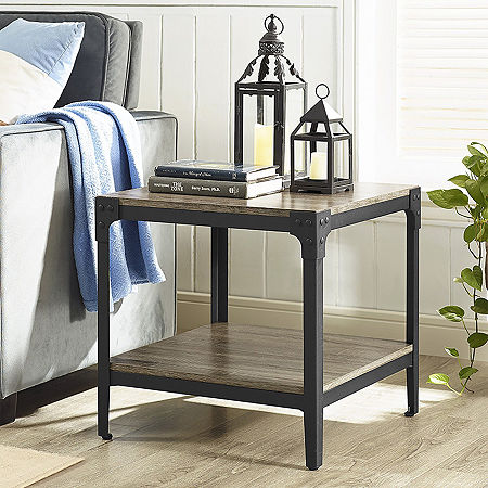 Set of 2 Angle Iron Rustic Wood End Table, One Size , Gray