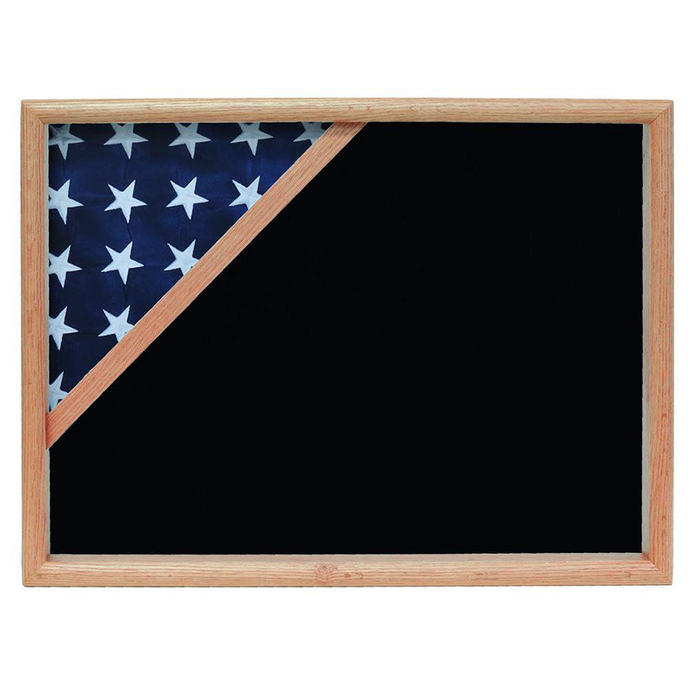Ceremonial Flag Corner Case, Oak, Black Velvet background