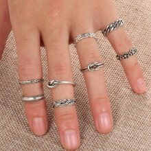 8pcs Chain & Floral Ring