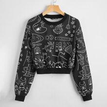 Pullover mit sehr tief angesetzter Schulterpartie und Karikatur Muster