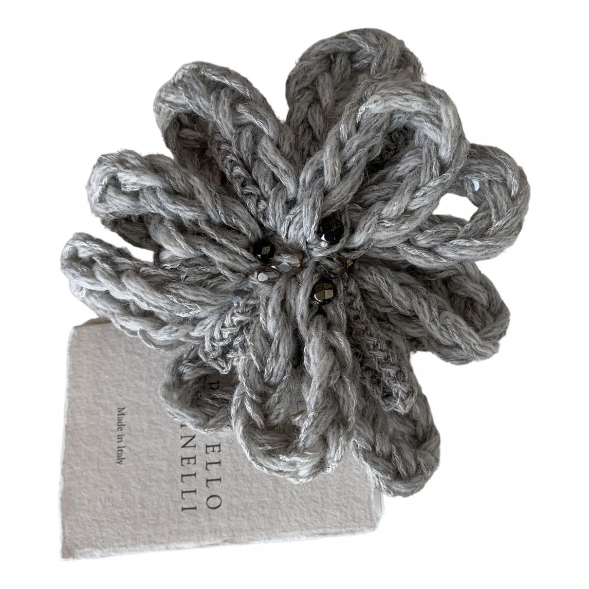Brunello Cucinelli - Broche   pour femme en toile - gris