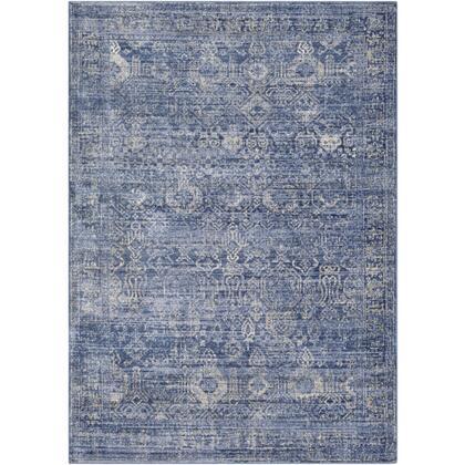 Indigo IGO-2300 67 x 9 Rectangle Traditional Rug in Navy  Bright Blue  Medium Gray  Tan  Charcoal