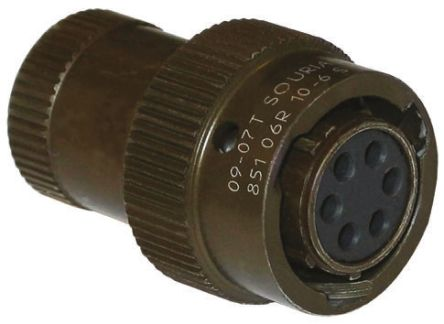 Souriau , 851 4 Way Cable Mount MIL Spec Circular Connector Plug, Pin Contacts,Shell Size 8, Bayonet Coupling,