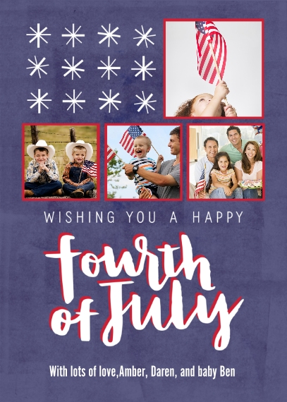 4th of July Photo Cards 5x7 Folded Cards, Standard Cardstock 85lb, Card & Stationery -Happy 4th of July