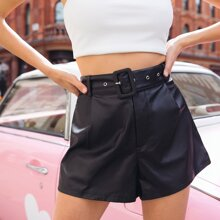 Buckle Belted PU Leather Shorts