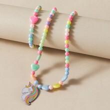 Set joya de niñitas con cuenta con corazon