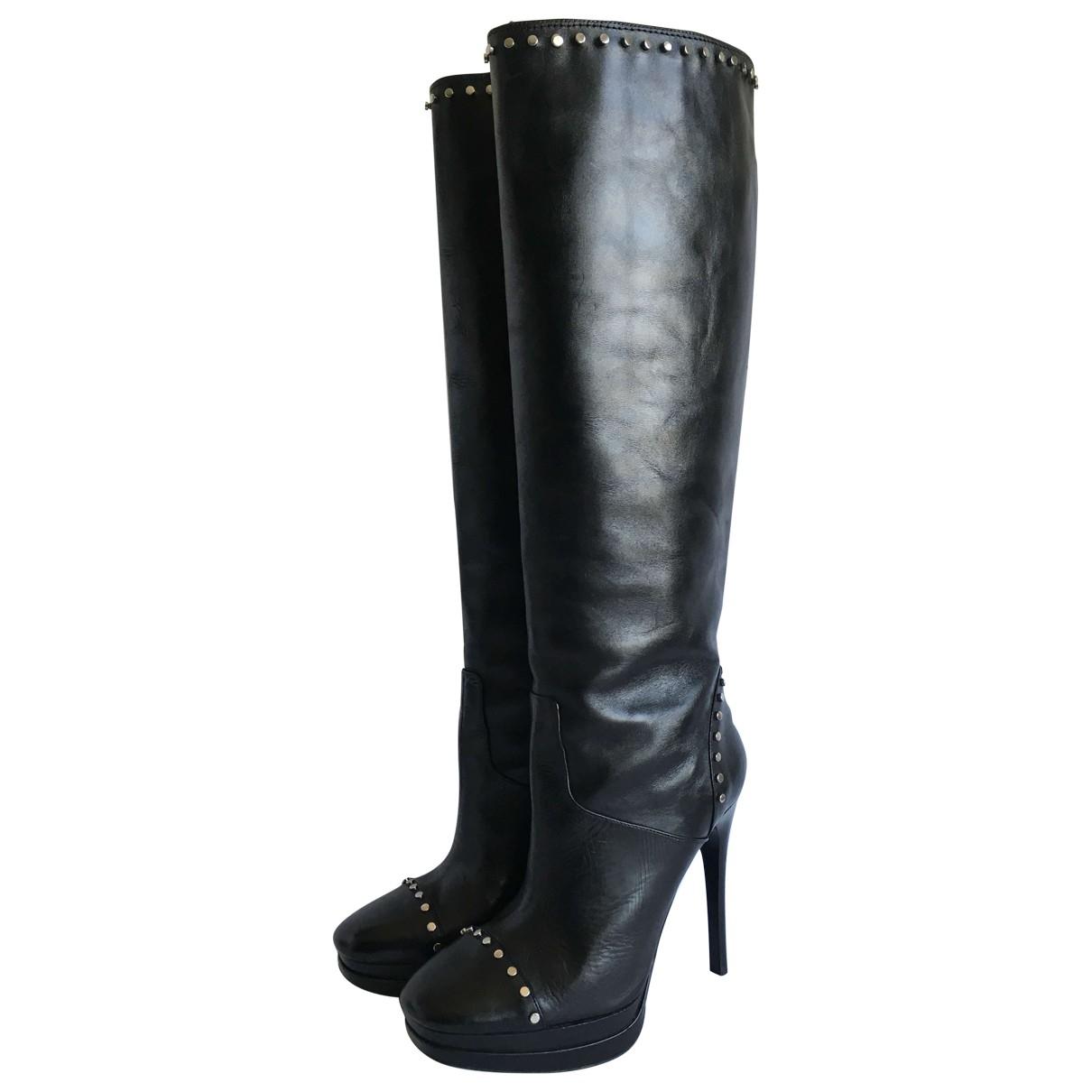 Roberto Cavalli \N Black Leather Boots for Women 36 EU