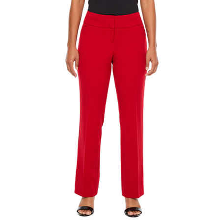 Worthington Womens Wide Waist Band Trouser - Petite, 4 Petite , Red