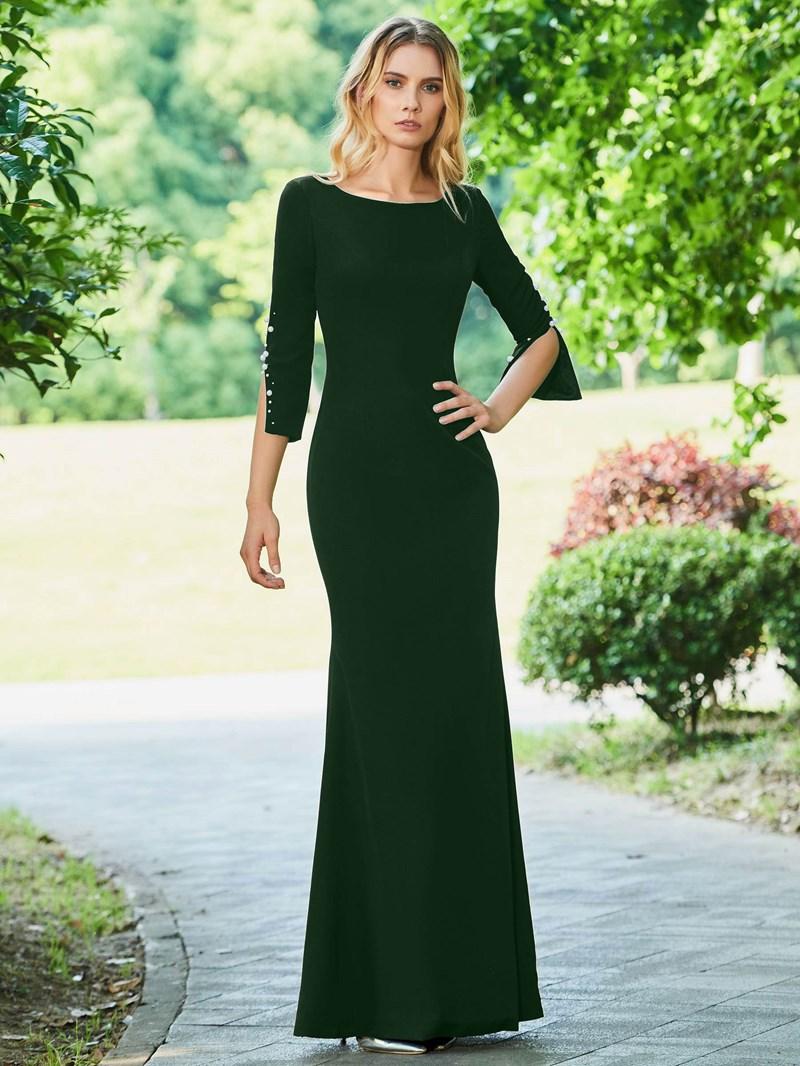 Ericdress Sheath 3/4 Sleeve Black Evening Dress
