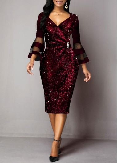 New Years Eve Women'S Deep Red Sequin Flare Sleeve V Neck Holiday Dress  Solid Color Three Quarter Sleeve Sheath Cocktail Party Dress By - L