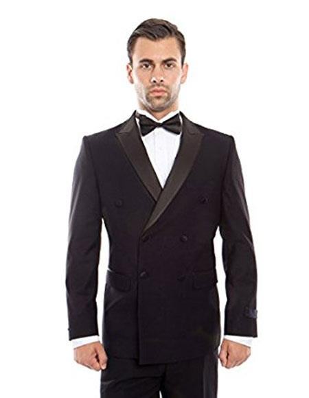Mens Slim Fit Double breasted Navy Tuxedo Flat Front Pants