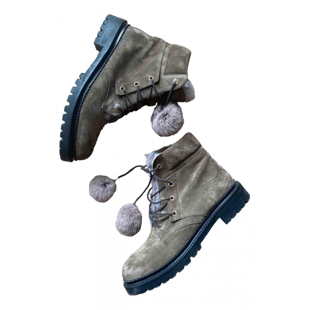 Jimmy Choo - Boots   pour femme en suede - marron