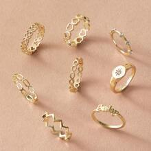 8pcs Rhinestone Decor Chevron Ring