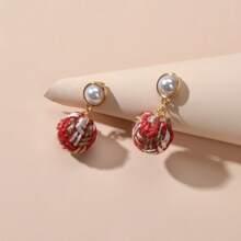 Pendientes largos con bola trenzada con perla artificial