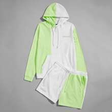 Men Letter Embroidery Colorblock Hoodie & Track Shorts Set