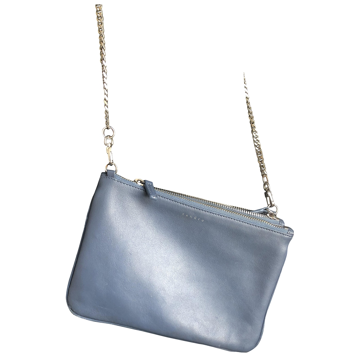 Sandro Addict Blue Leather Clutch bag for Women \N