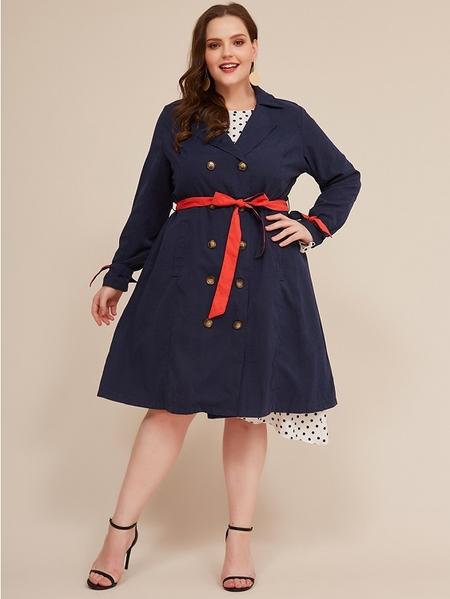 Yoins Plus Size Navy With Belt Button Design Trench Coat