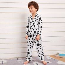 Toddler Boys Lapel Polka Dot PJ Set