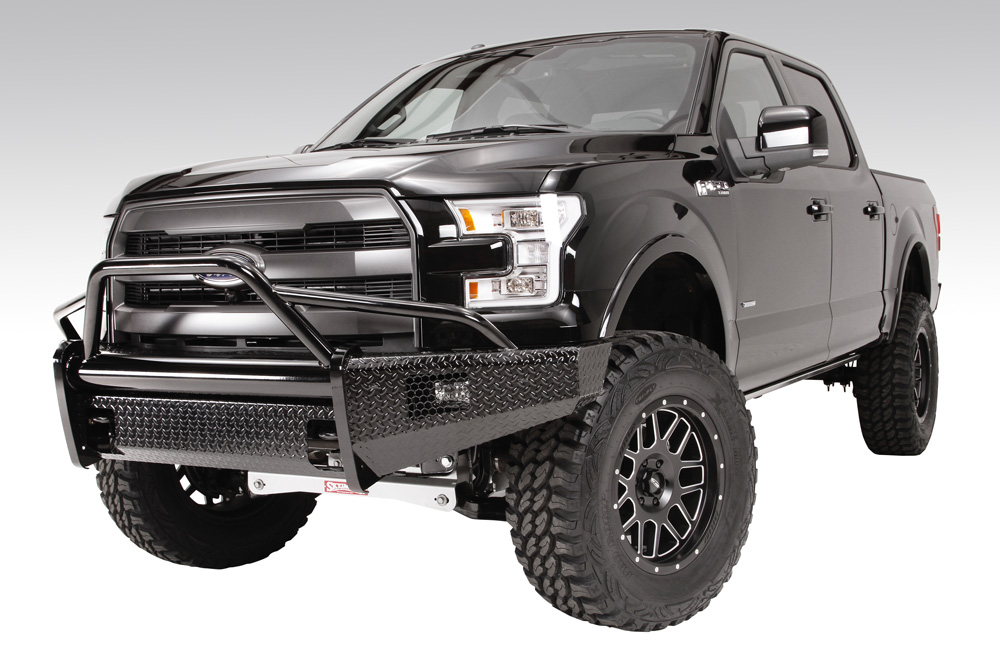 Fab Fours FF15-K3252-1 15-17 Ford F-150 Black Steel Pre-Runner Front Bumper w/Tow Hooks