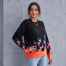 Drop Shoulder Pullover mit Feuer Muster