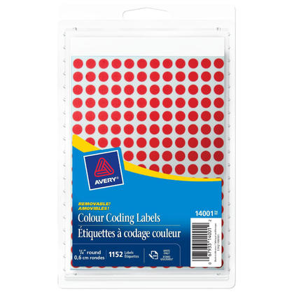 Avery@ amovible etiquettes handwrite a codage couleur - 1/4�de diametre, 1152/paquet, rouge 4812