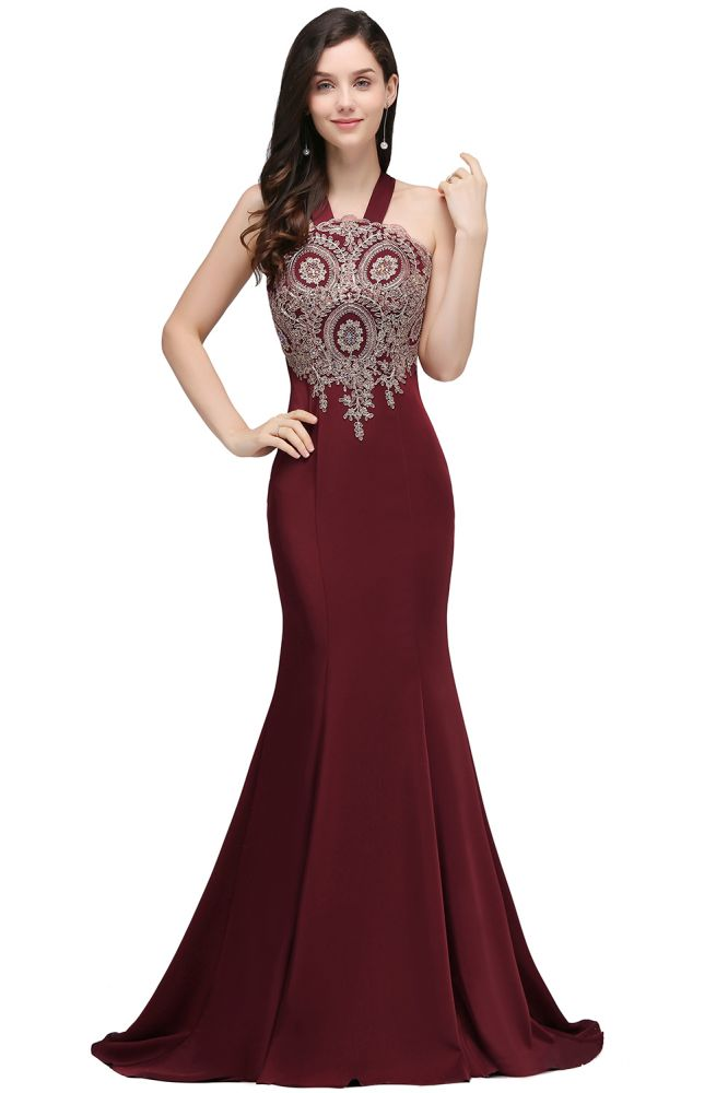 EILEEN | Mermaid Scalloped Floor-length Appliques Burgundy Prom Dresses with Beadings