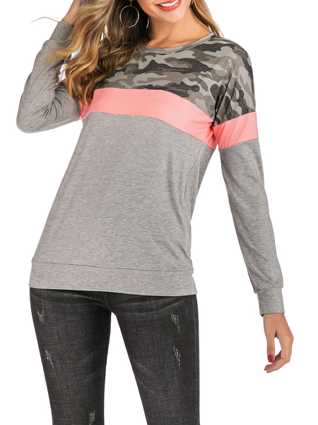 Yoins Camo Round Neck Long Sleeves Tee