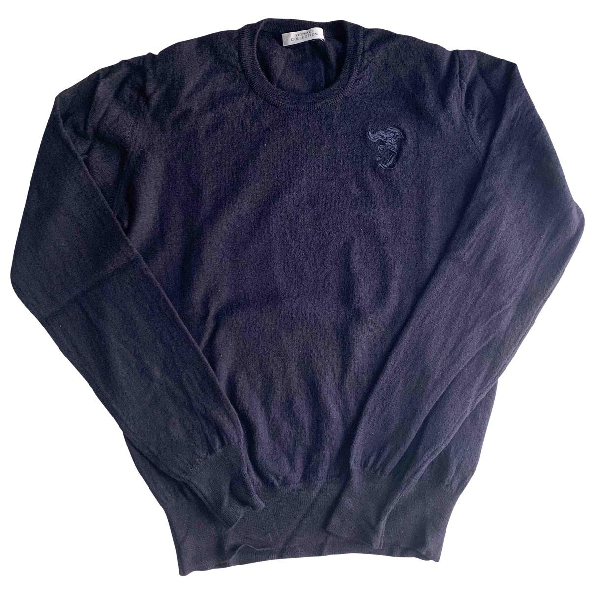 Versace - Pull   pour femme en laine - bleu