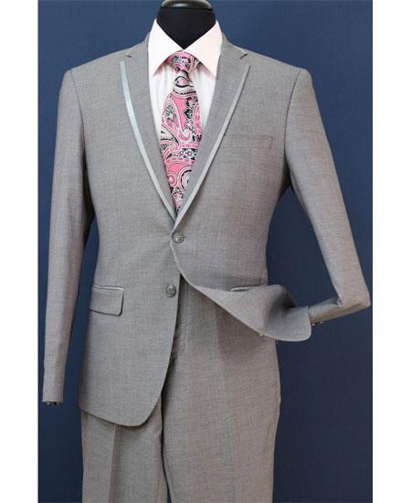 Mens Fashion Gray Trim Lapel Wedding Tuxedo Vested 3 Pieces