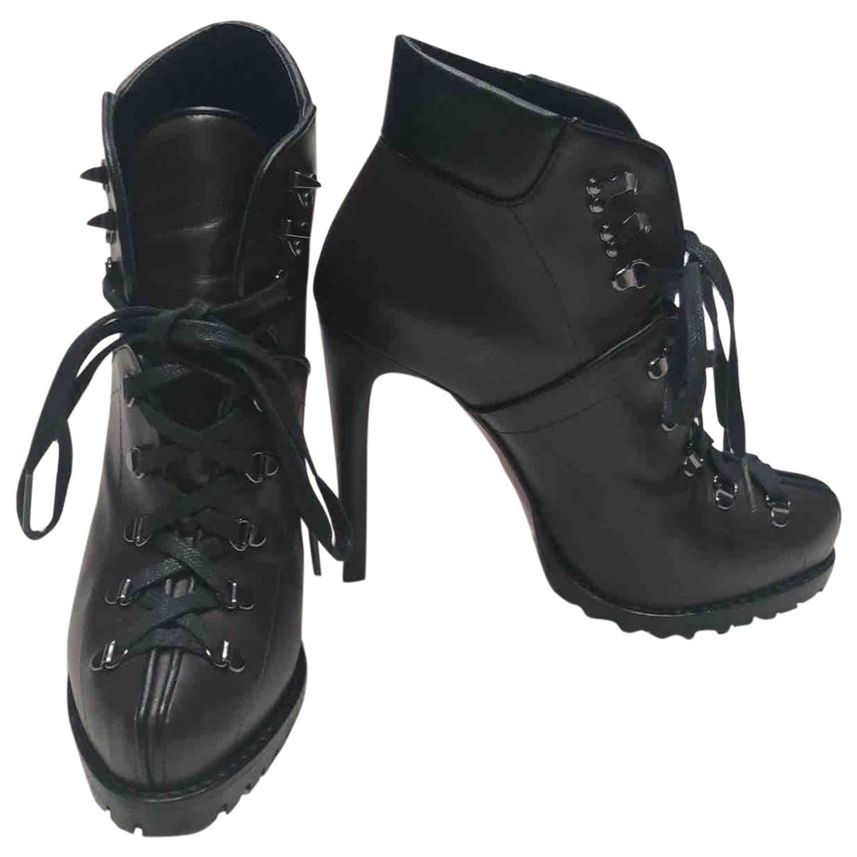 Alaia - Boots   pour femme en cuir - bordeaux