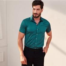 Camisa unicolor de hombres de manga corta