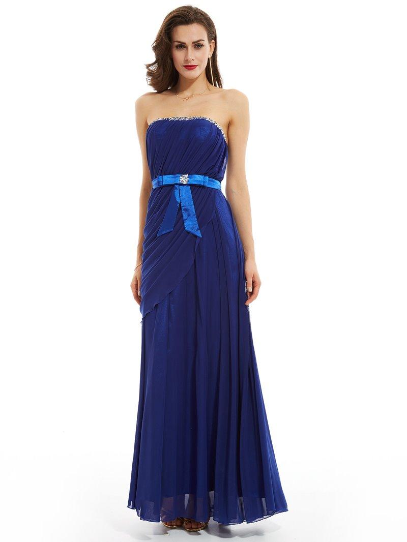 Ericdress Sheath Strapless Beaded Pleats Evening Dress