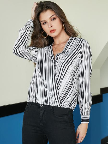 YOINS White Striped V Neck Wrap Design Blouse
