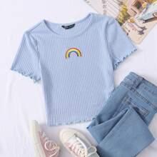 Strick T-Shirt mit gekraeuseltem Saum und Regenbogen Stickereien