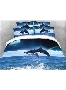 Jumping Dolphins and Rainbow Soft Warm Duvet Cover Set 4-Piece 3D Animal Bedding Set