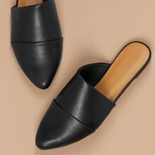 Pointed Toe Asymmetric Vamp Flat Mules