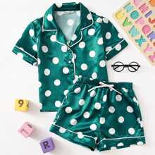 Conjunto de pijama camisa de saten de lunares de cuello V con shorts