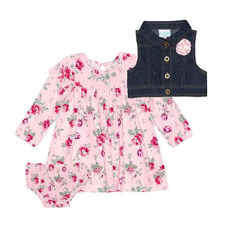 Nannette Baby Girls Long Sleeve Dress Set, 6-9 Months , Pink
