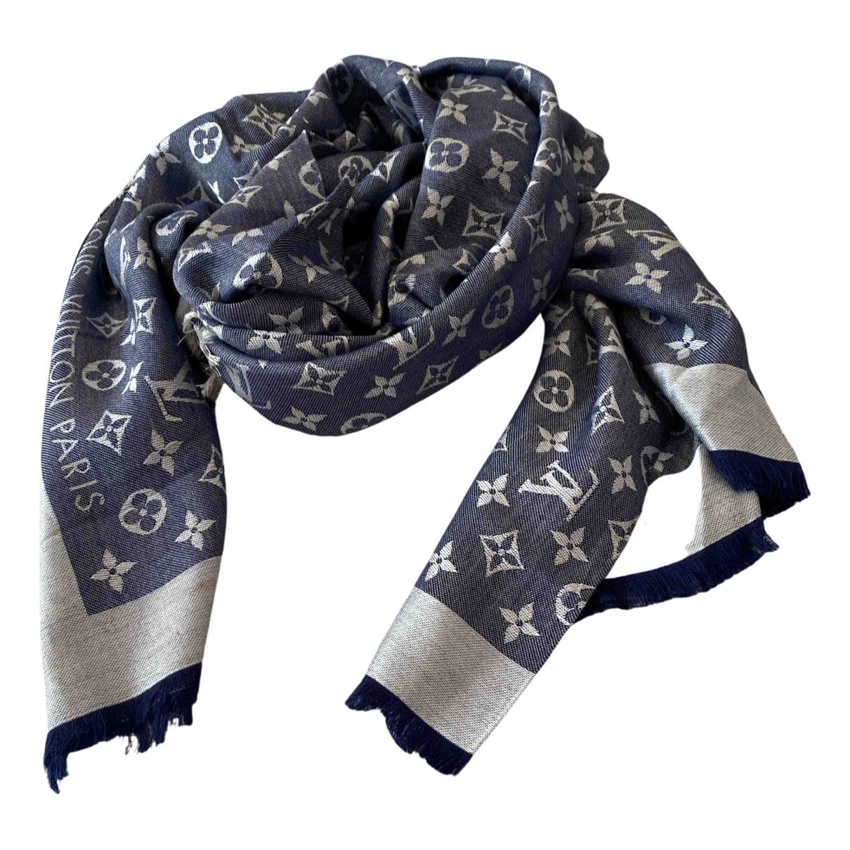 Louis Vuitton - Foulard Chale Monogram pour femme en soie - bleu