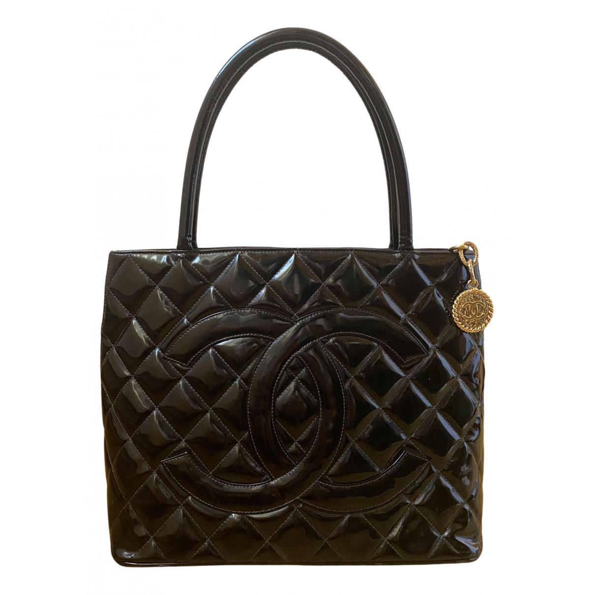 Chanel - Sac a main Medaillon pour femme en cuir verni - noir