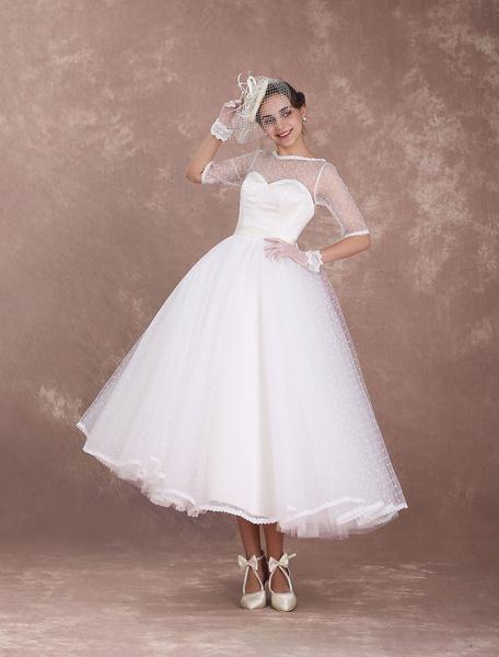 Milanoo Vintage Wedding Dress 1950's Short Bridal Dress Ivory Backless Polka Dot Half Sleeve Sweetheart Bow Sash Weddig Reception Dress