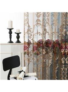 European Vintage Embroidered Rose 2 Panels Blackout Custom Sheer Curtains